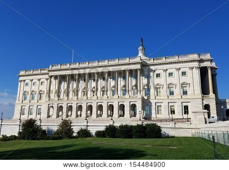 The South facade of the United States Capitol Building, with the House of the Representatives wing, on Capitol Hill in Washington DC, USA.