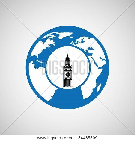 traveling world london monument design, vector illustration  graphic
