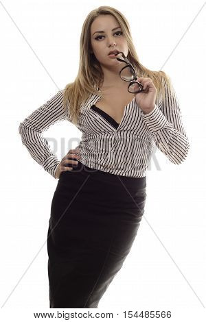 Stylish Trendy Young Woman Holding Glasses At Lips