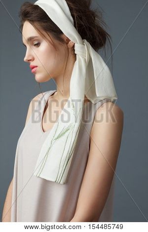 Portrait Of Young Elegant Woman With Handkerchief