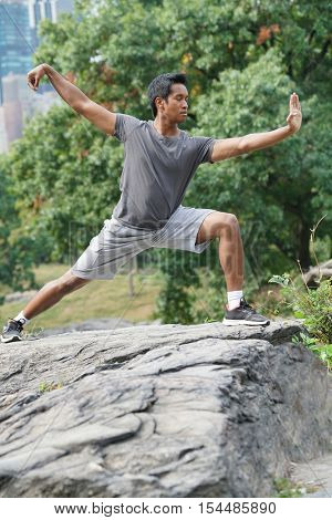 Man doing martial art exercises at Central Park