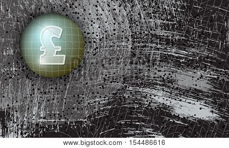 Vector abstract scratched background and pound sterling symbol