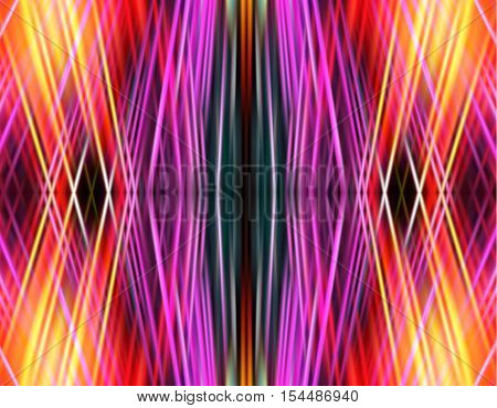 Abstract pink, orange, yellow and black background of intersecting spectral rays. Green, orange, pink, white and blue background. Abstract background with grid of laser beams