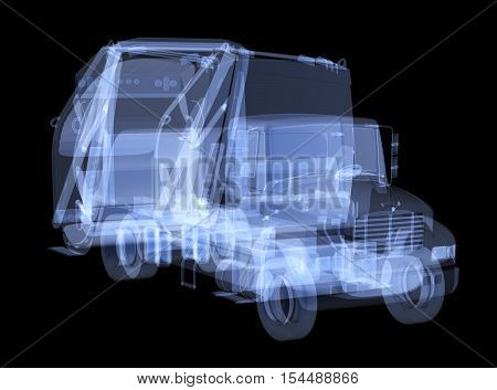 X-ray garbage truck isolated. Radiography illustration 3d render