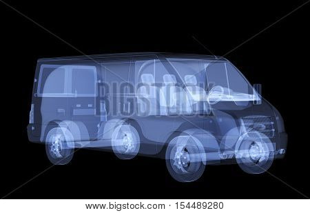 X-ray van isolated. Radiography illustration 3d render