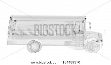 X-ray school bus isolated on white. Radiography illustration 3d render