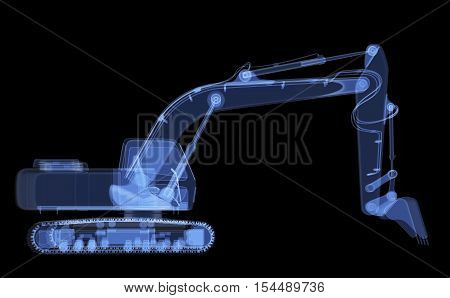 X-ray excavator isolated. Radiography illustration 3d render