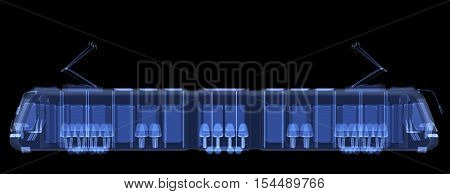 X-ray tram isolated. Radiography illustration 3d render