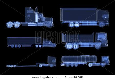 Set of x-ray trucks isolated. Radiography illustration 3d render