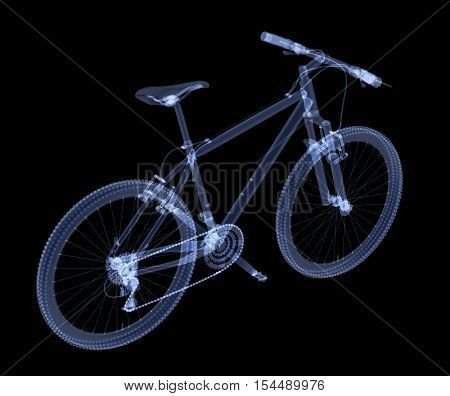 X-ray bike isolated. Radiography illustration 3d render