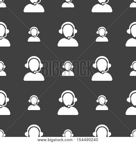 Customer Support Icon Sign. Seamless Pattern On A Gray Background. Vector