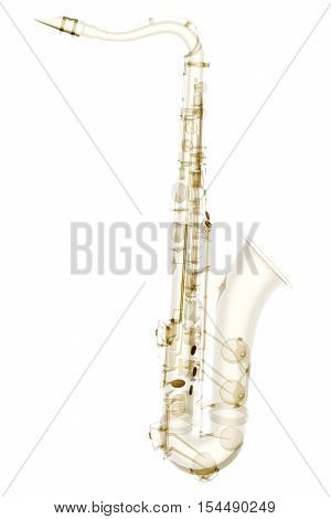X-ray saxophone isolated. Radiography illustration 3d render