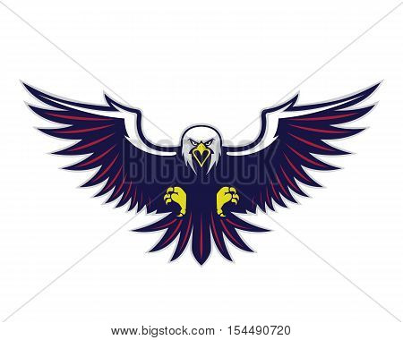 Clipart picture of a flying eagle cartoon mascot logo character