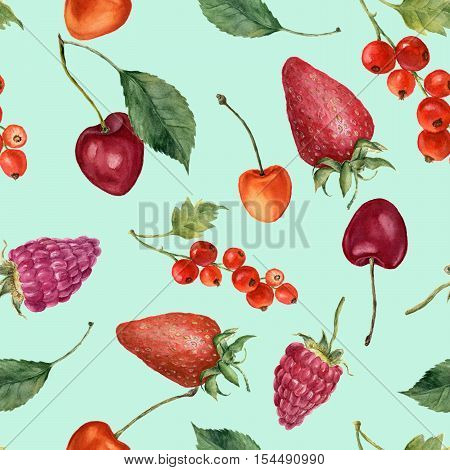 Summer berries watercolor seamless pattern. Watercolor strawberry, cherries, redcurrant, raspberry and leaves isolated on blue background. For design, textile and background.