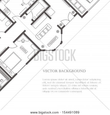 House plan background for card banner presentation template real estate social advertising notebook cover poster or postcard. Building with furniture. Vector illustration.