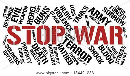 Stop war word cloud concept. White background.
