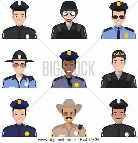 Set of colorful police flat style icons: sheriff SWAT officer and policeman. Vector illustration.