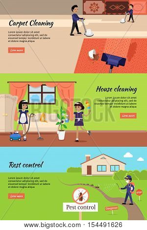 House cleaning, pest control, cleaning carpet banners. Housework and cleaner service, domestic cleaning work, housekeeping wash and cleaning, washing and housecleaning, disinfectant pests illustration