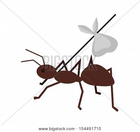 Brown ant carrying her baggage on tree branch. Ant icon. Ant holding branch. Insect icon. Termite icon. Isolated object in flat design on white background. Vector illustration.