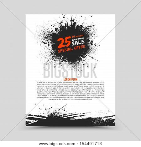 Vector isolated bright flyer design template Black Friday Sale. Abstract hand made grunge illustration on white background for advertise, promote, business. Handicraft art ink scatter blot and smear