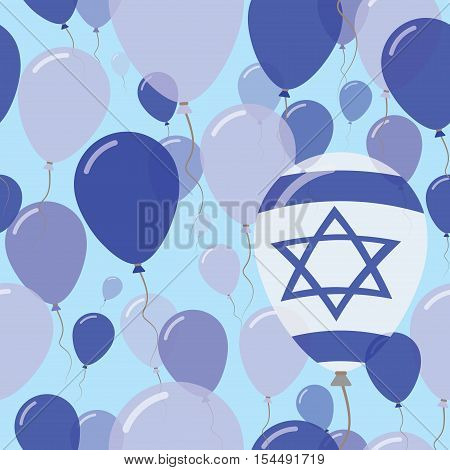 Israel National Day Flat Seamless Pattern. Flying Celebration Balloons In Colors Of Israeli Flag. Ha