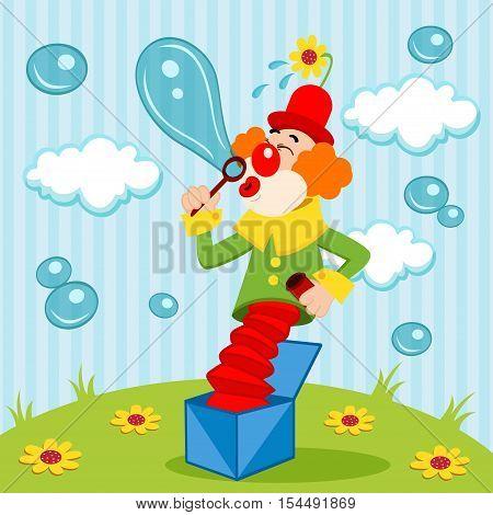 Clown blows bubbles - vector illustration, eps