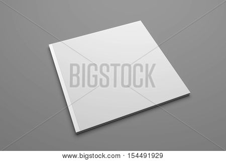 Blank square publication or brochure isolated on gray. 3D illustration mockup.
