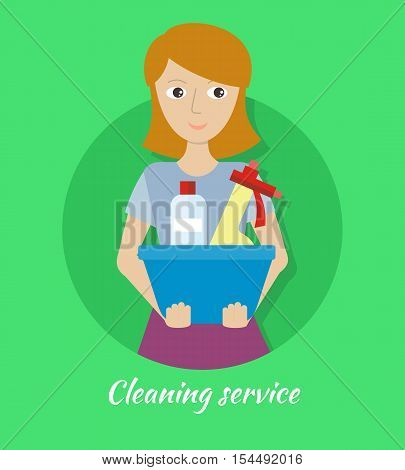 Cleaning service. Female member of the cleaning service staff with basin with glass cleaner and substance for washing. Worker of cleaning company. Successful housekeeping company banner. Vector