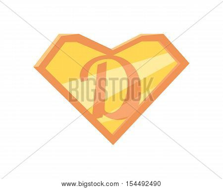 Father superhero symbol. Super dad icon. Super dad shield in flat. Pink orange element. Simple drawing. Isolated vector illustration on white background.