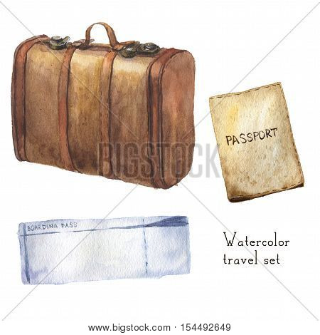 Watercolor travel set including passport, ticket, vintage leather set. Hand painted illustration isolated on white background. For design, textile and background