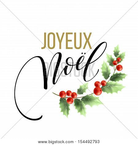 Merry Christmas card template with greetings in french language. Joyeux noel. Vector illustration EPS10