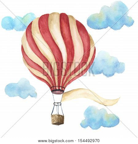 Watercolor hot air balloon set. Hand drawn vintage air balloons with flags garlands, clouds, banner for your text and retro design. Illustrations isolated. For design, print and textile.