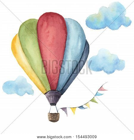 Watercolor hot air balloon set. Hand drawn vintage air balloons with flags garlands and retro design. Illustrations isolated on white background