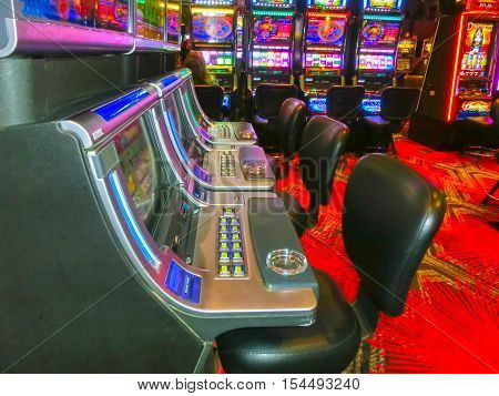 Las Vegas United States of America - May 07 2016: Slot machines in the Fremont Casino at Las Vegas United States of America