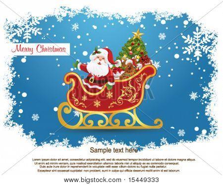 Weihnachtsmann in seinem Schlitten.