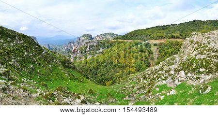 panoramic photo of Meteora Greece - greek religious places