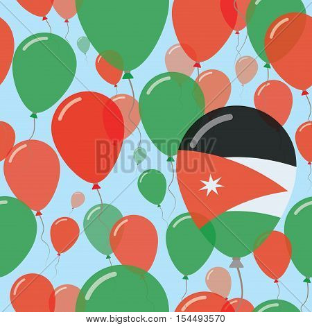 Jordan National Day Flat Seamless Pattern. Flying Celebration Balloons In Colors Of Jordanian Flag.