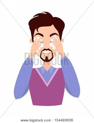 Man cleaning and care her face, facial, treatment, beauty, healthy, hygiene, lifestyle. Cleaning makeup. Skin care. Handsome man in process of washing face. Man in purple sweater. Vector illustration