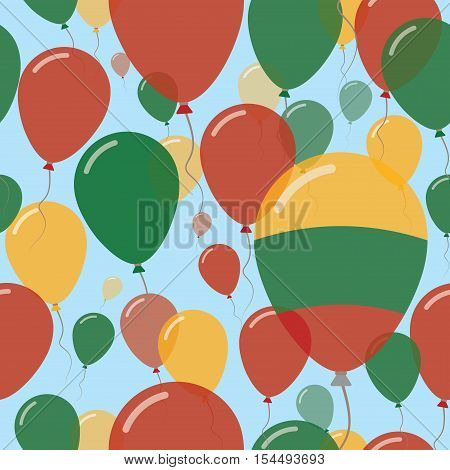 Lithuania National Day Flat Seamless Pattern. Flying Celebration Balloons In Colors Of Lithuanian Fl