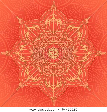 Vector background round Yoga mandala. Design idea of the sacred lotus, spiritual balance, relaxation and concentration, meditation.