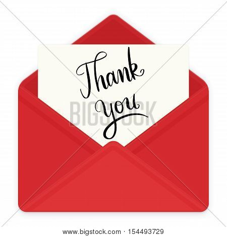 Red envelope with thank you hand lettering message on white paper