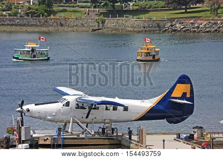 Seaplane and water taxis in Victoria harbour