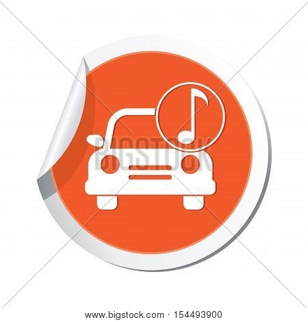 Car with music icon on the sticker