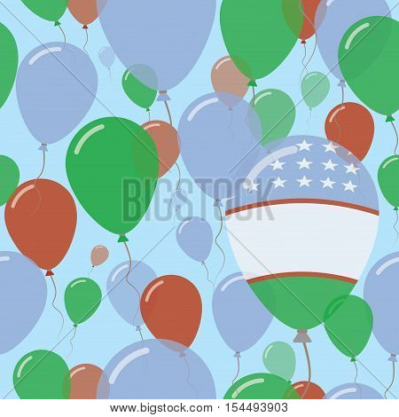 Uzbekistan National Day Flat Seamless Pattern. Flying Celebration Balloons In Colors Of Uzbekistani
