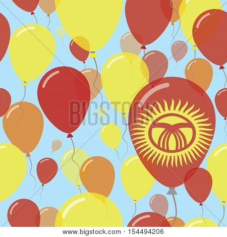 Kyrgyzstan National Day Flat Seamless Pattern. Flying Celebration Balloons In Colors Of Kirghiz Flag