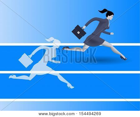 Outperform yourself business concept. Confident business woman in business suit runs with case in her hand runs against her own transparent shadow and wins. Excellence performance efficiency concept
