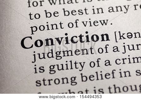 Fake Dictionary Dictionary definition of the word conviction.