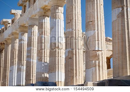 A detail of The Parthenon at Acropolis Athens Greece