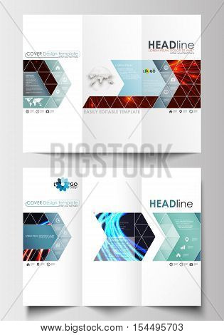 Tri-fold brochure business templates on both sides. Easy editable abstract layout in flat design. Abstract lines background with color glowing neon streams, motion design vector.