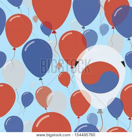 Korea, Republic Of National Day Flat Seamless Pattern. Flying Celebration Balloons In Colors Of Sout